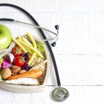 Healthy food in heart diet abstract