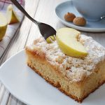fresh baked apple cake with coffee