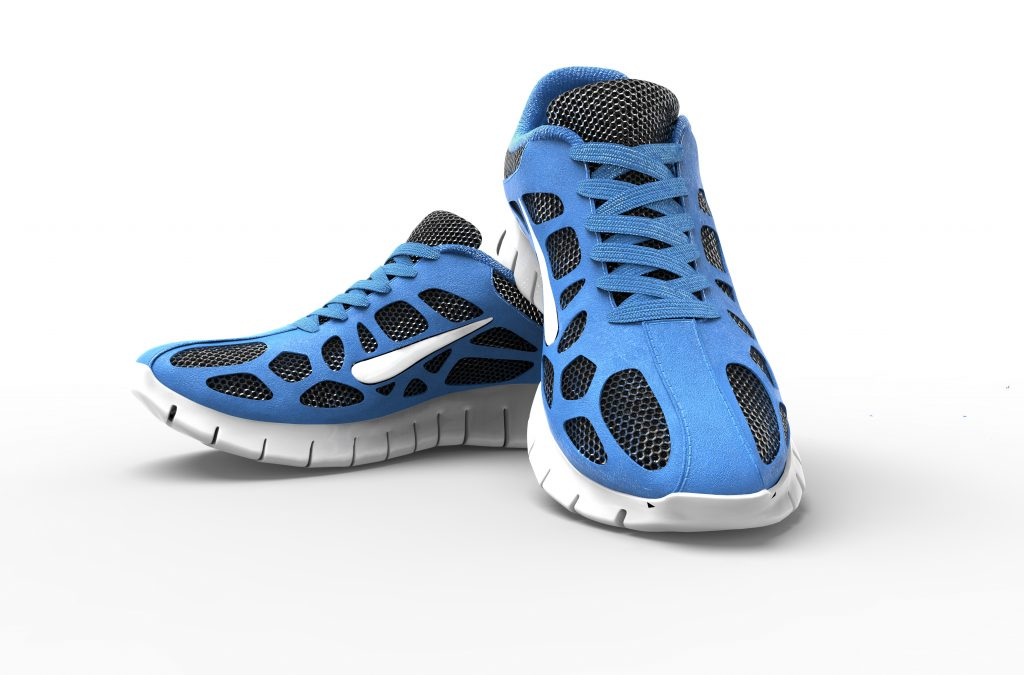 two blue running shoes isolates on white.